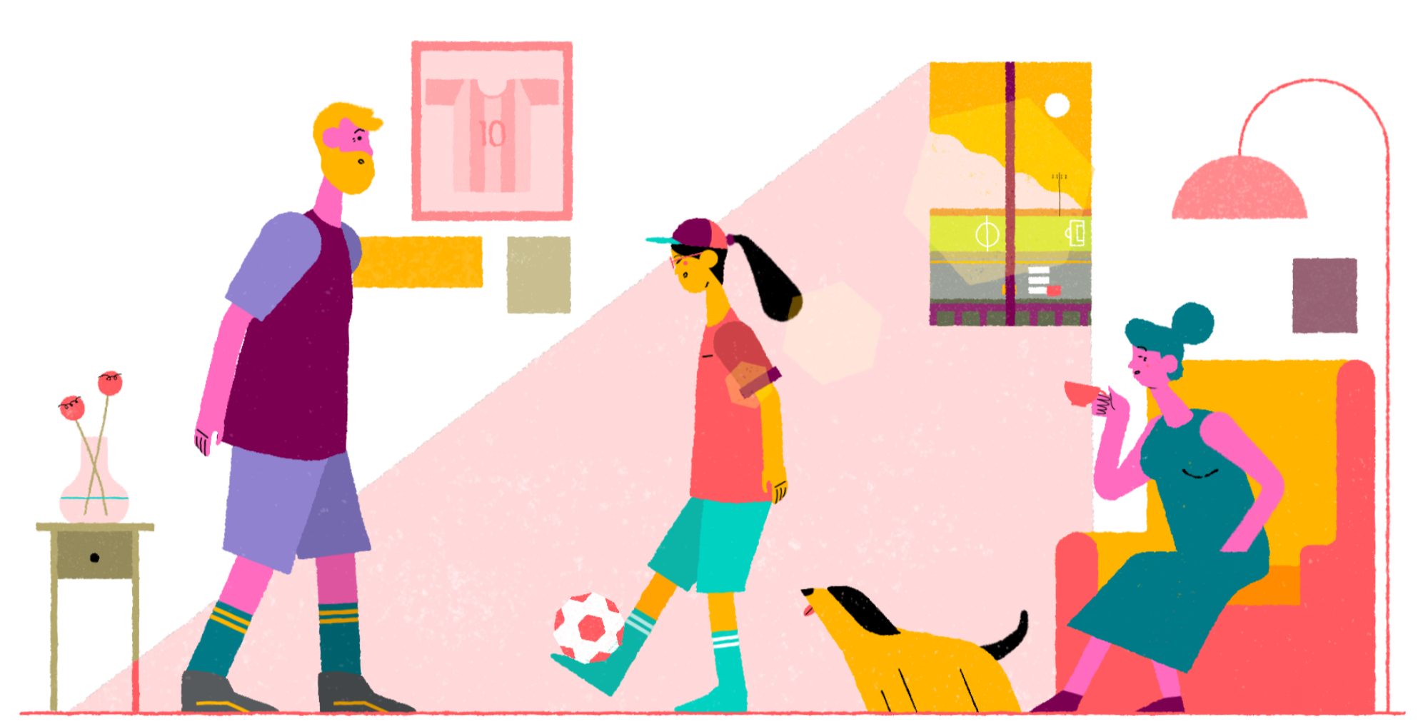 An illustration featuring the Airbnb host and guest juggling a football inside while a dog watches and the host's wife sips on some tea.