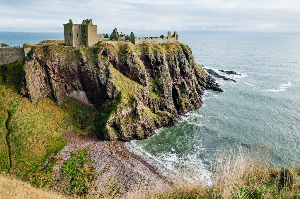 The ruins of Dunottar Castle on the north east coast of Scotland.