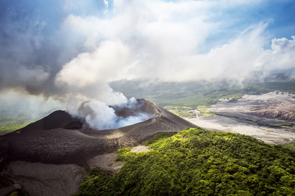 Aerial view of Yasure Volcano on Tanna Island, Vanuatu.