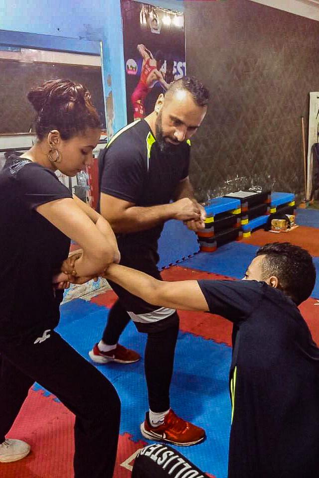 Amir Al Awad teaching a self-defense class.